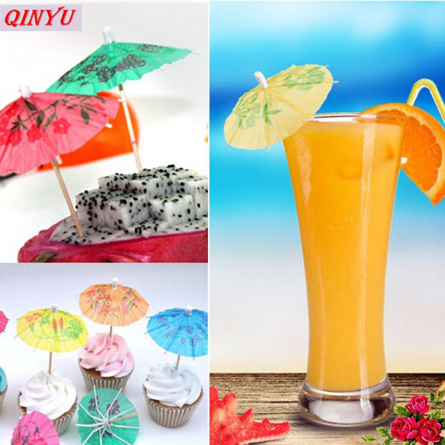 100pcs Cocktail Decor Paper Parasol Umbrella Fruit Bamboo Toothpick Birthday Wedding Buffet Cake Decoration Supplies
