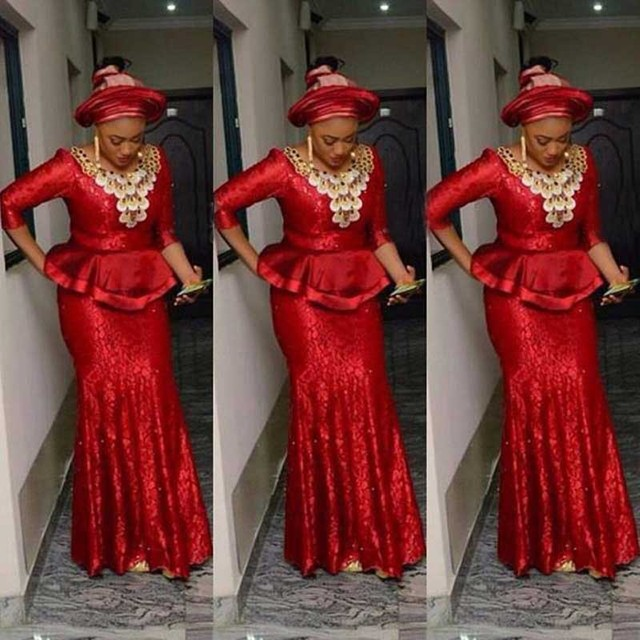 Red Lace Nigeria Evening Dresses Aso Ebi Long Sleeve Mermaid Evening ...
