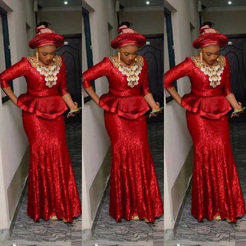 Red Lace Nigeria   Evening     Dresses   Aso Ebi Long Sleeve Mermaid   Evening   Gowns 2019 Abendkleider South African Prom Party   Dress