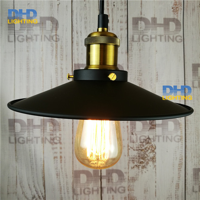 Free shipping dia.22*H11cm North American style Vintage nostalgic bar table light bulb black iron pendant light single bar lamps