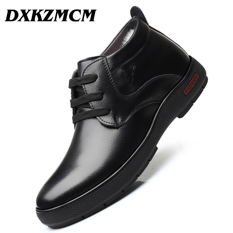 DXKZMCM Handmade Men Genuine Leather Winter Wool Boots Warm Snow Men Boots Ankle Boots For Men Business Dress Shoes elevator shoes taller 2 56 inch winter genuine leather men boots fashion warm wool ankle boots men snow boots shoes hot sale