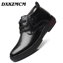 DXKZMCM Handmade Men Genuine Leather Winter Wool Boots Warm Snow Men Boots Ankle Boots For Men Business Dress Shoes