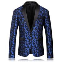 Mens Royal Blue Blazer Stampato Modello Slim Equipaggiata Prom Blazers Uomini One Button Suit Jacket Costumi di Scena Per Cantanti