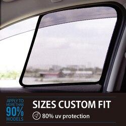 2 sztuk magnetyczne lub przystawki samochód z powrotem osłona przeciwsłoneczna na boczną szybę dla Audi A1 A3 A4l A6l Q3 Q5 Q7 okno samochodu zasłony Shade samochodów osłona przeciwsłoneczna