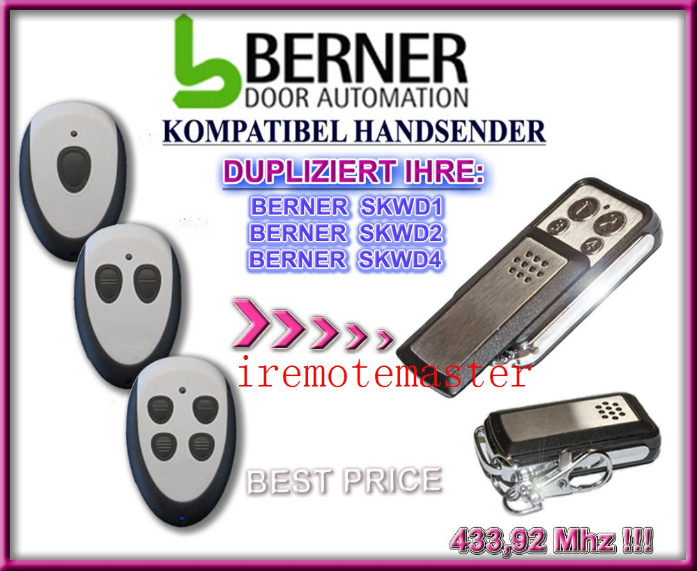 After market BERNER SKWD1, SKWD2, SKWD4 compatible remote 433.92MHZ  free shipping after market merlin plus compatible remote suit c945 940 933 dhl free shipping