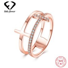 Popular Double-layer Openwork Zircon Diamond Ring Fashion Casual Women Hot Sell 14K Rose Gold New Arrived Fine Jewelry