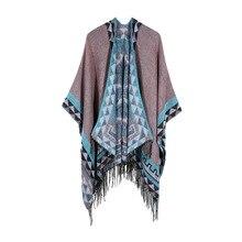 Женский зимний модный кашемировый шарф-пончо и накидки толстые теплые шали шарфы женские Бандана Хиджаб Cachecol Пашмина