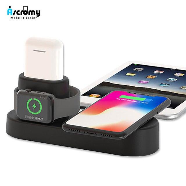 11fe20d56ad Ascromy rápido cargador inalámbrico Pad Dock para iPhone XS Max XR 8X8, 10  a Apple