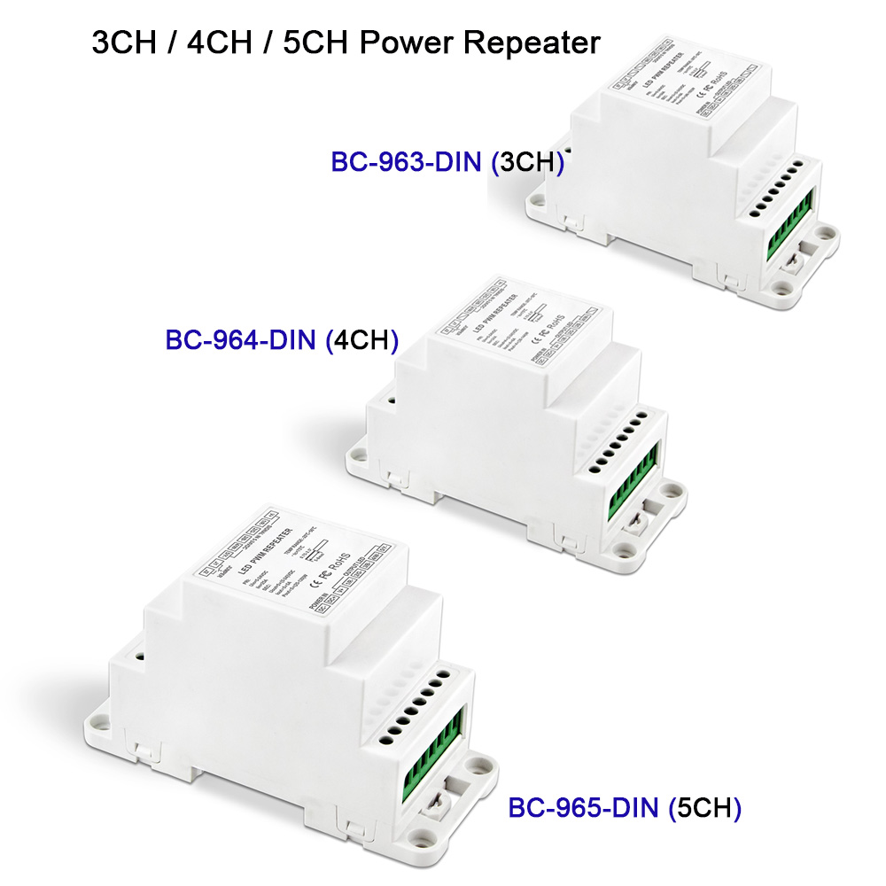 New Led Power Repeater DIN Rail DC5V 12V 24V input Amplifier 3CH/4CH/5CH output Signal repeater BC-963-DIN/B