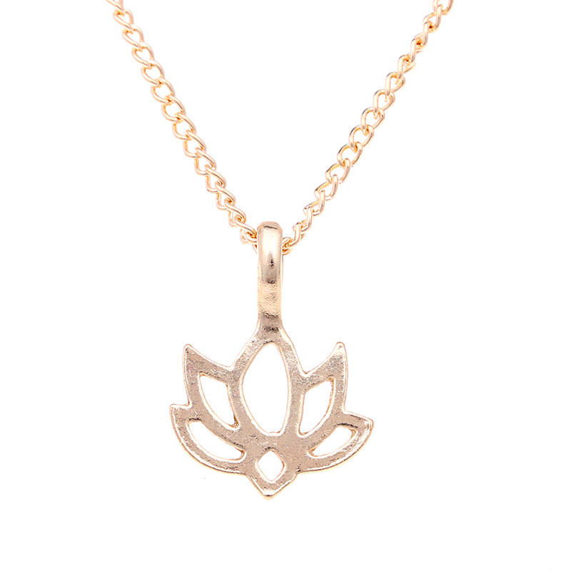 lotus flower pendant necklace-2