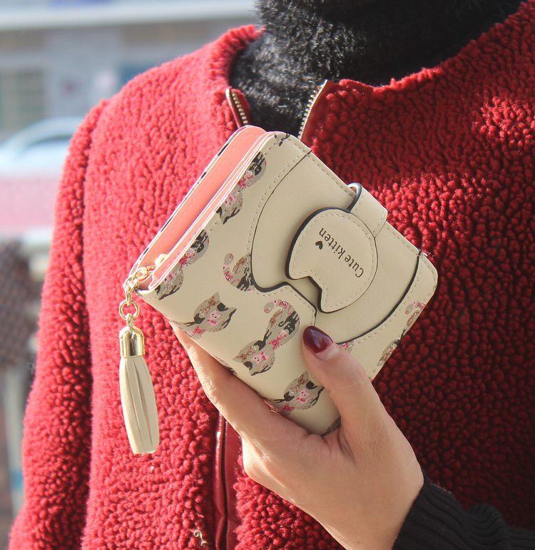 Tassel cartoon cat women wallet printing PU Leather women walelt brand designed coin purse female card holder cute girl wallet 6