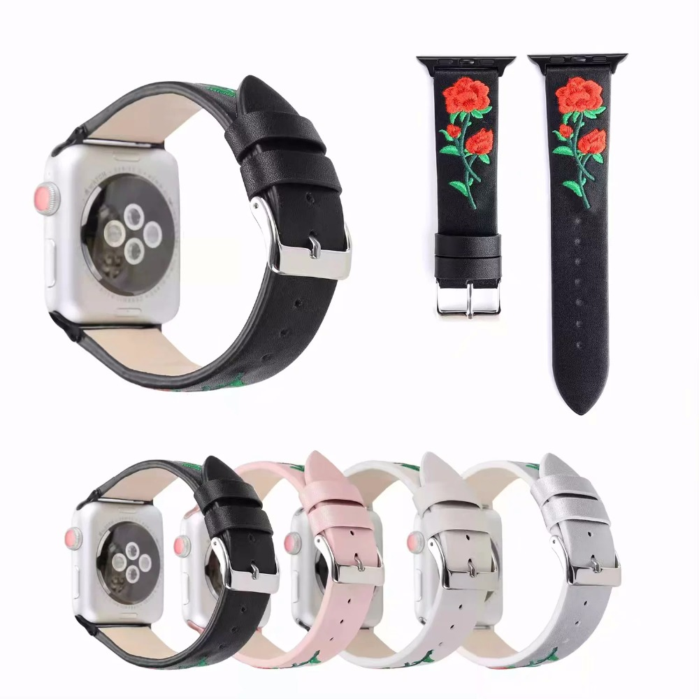 Hand-embroidered Flowers leather strap for iWatch Apple Watch Band 42mm 38mm Series 1/2/3 Strap WatchBand