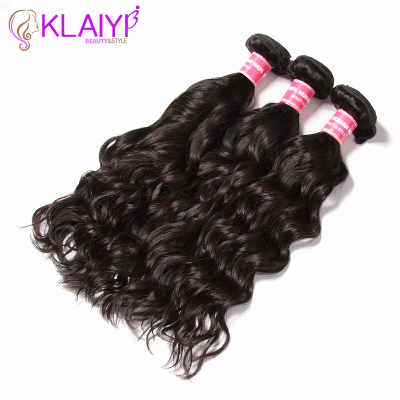 Klaiyi Hair Products Malaysian Natural Wave 8-26 Inch Natural Color Remy Human Hair Bundles Can Be Bleached Hair Weave