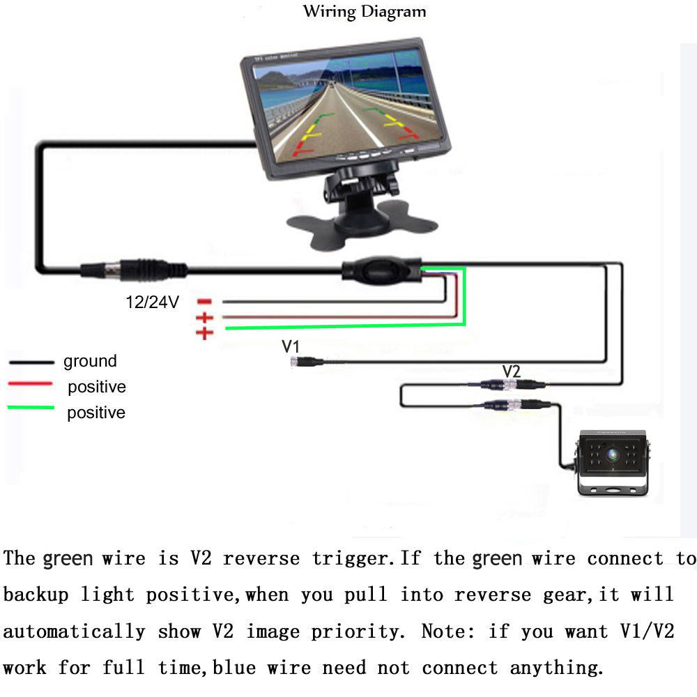 hight resolution of podofo 7 hd car monitor 4 pins 12 ir night vision backup rear viewwireless dual backup cameras parking assistance night vision waterproof rearview camera
