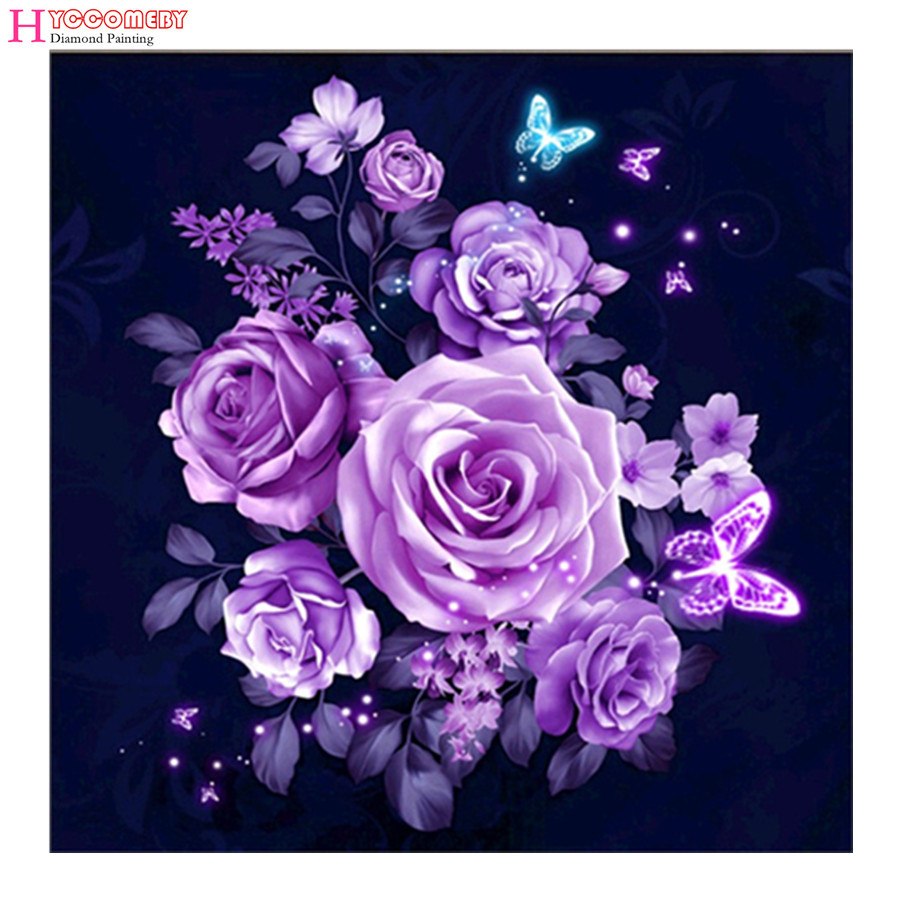 Needle Arts & Crafts Home & Garden 5d Diamond Embroidery Tractor Diy Square Diamond Mosaic Purple Rose Flower Picture Diamond Painting Cross Stitch Home Decals