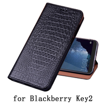 Genuine Leather Flip Cover Card For Blackberry KEY2 KEY Two BBF100-1 Mobile Protective Stand Case Leather Cover For KEYone