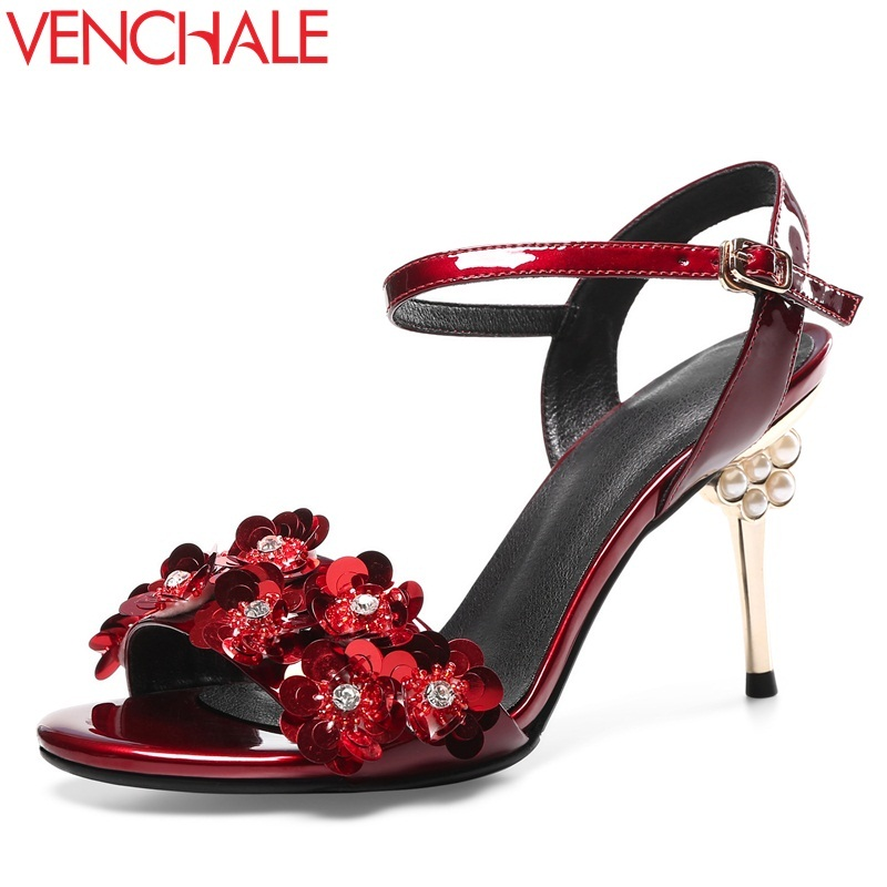 VENCHALE 2018 new fashion cow leather bling flower super high pearl thin heel ankle buckle strap sexy party summer women sandals venchale 2018 summer new fashion sandals wedges platform women shoes height heel 10 cm buckle strap casual cow leather sandals