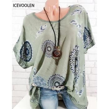 Bluzki damskie drukuj koszula w dużym rozmiarze koszulka żeńska moda koszula na co dzień wokół szyi koszula z krótkim rękawem kobiet tanie i dobre opinie icevoolen Polyester REGULAR WOMEN O-neck Sequined Print Tkane