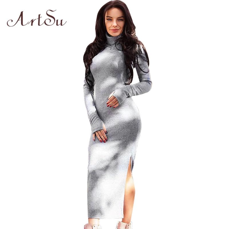 ArtSu Women Autumn Winter Sexy Split Long Sleeve Dress Turtleneck Casual Knitted Bodycon Sheath Maxi Dresses Vestidos ASDR30462