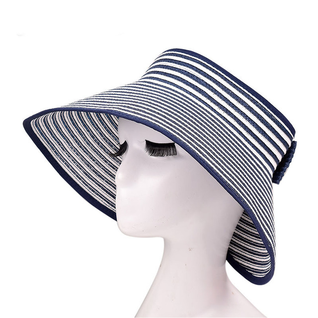 Sun Visor For Woman Travel And Water Aerobics Hat Crushable Roll Up Wide Brim Beach Straw