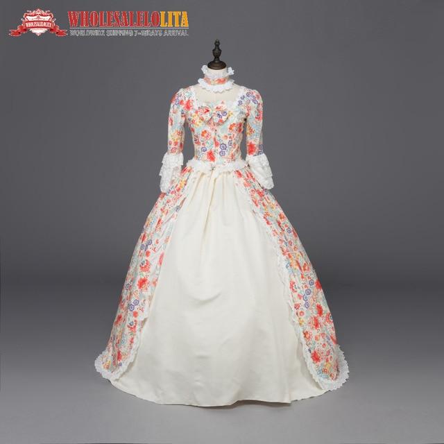 Top Sale Print Marie Antoinette Renaissance Dress Christmas Ball Gown  Steampunk Reenactment Theatre Clothing e9c27632e26b