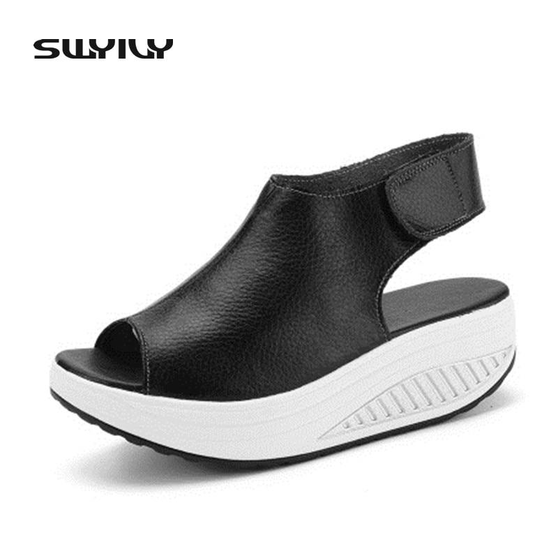 Warna Tulen Sandal Musim Panas 2018 Kasut Platform Luaran Untuk Wanita 35-40 Saiz Plus Kepala Kasut Ikan Kulit Lebih Warna Kasut