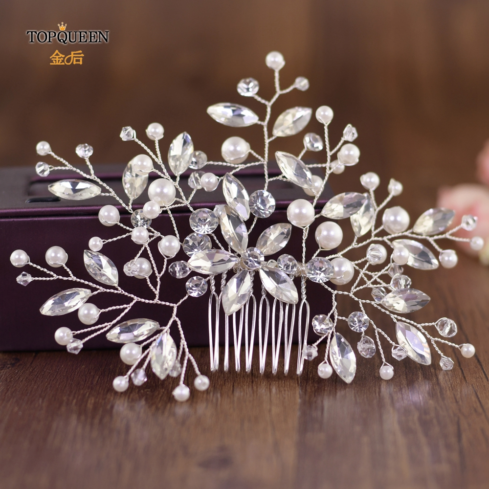 TOPQUEEN Rhinestones And Pearl Headdress Wedding Hair Comb Vine Sliver Hair Clip Comb Vintage Bridal Hair Jewelry HP117