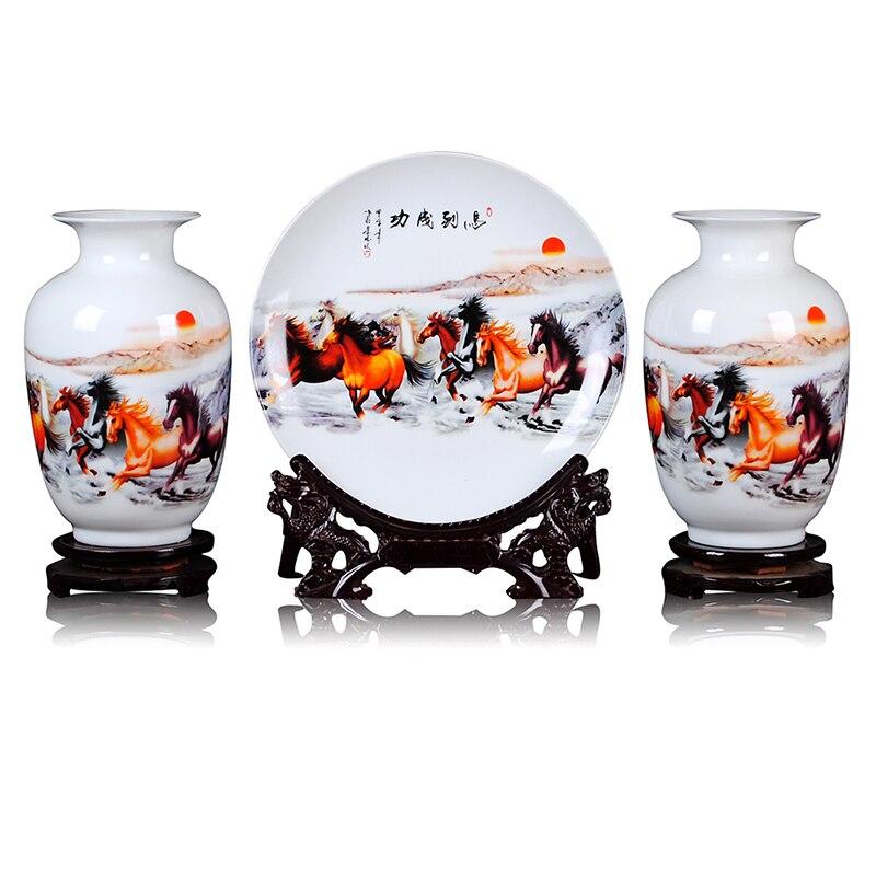Jingdezhen Ceramics Vase Set Eight fine horses Vases Chinese style Home Furnishing Vase Plate Decoration Jingdezhen Ceramics Vase Set Eight fine horses Vases Chinese style Home Furnishing Vase Plate Decoration