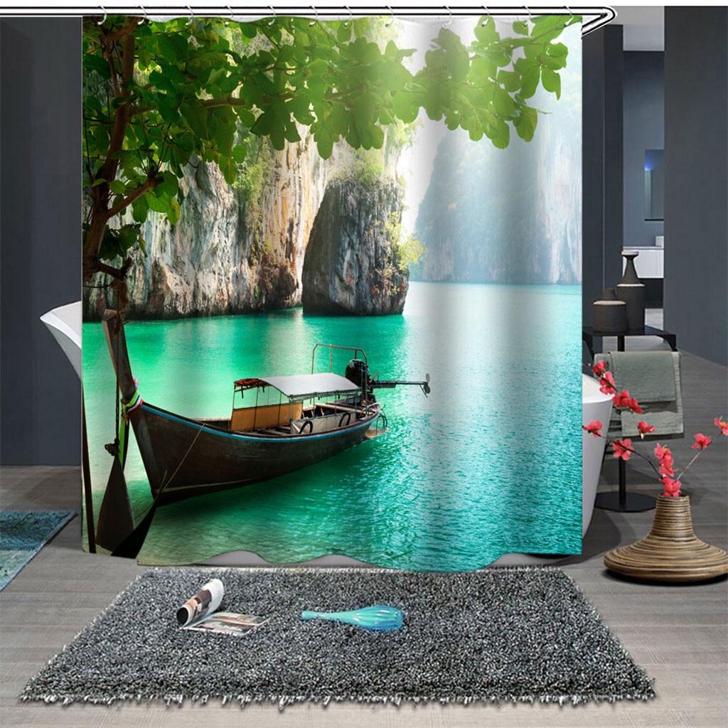 ISHOWTIENDA High Quality Popular Polyester Waterproof Shower Curtain With 12 Hooks Printed Bathroom 180x180cm