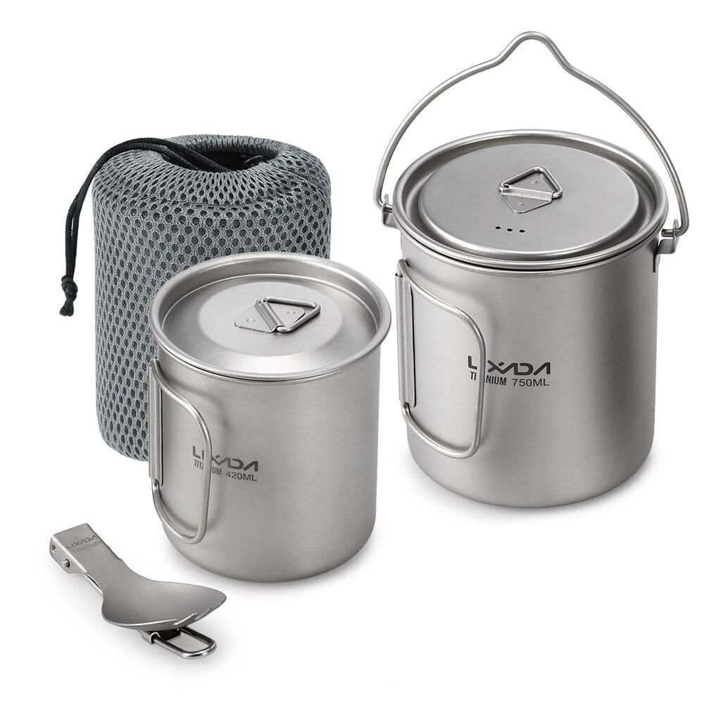 Lixada titane 3 pièces ensemble 750 ml Pot 420 ml eau tasse à café tasse avec couvercle poignée pliant Spork pour Camping randonnée sac à dos