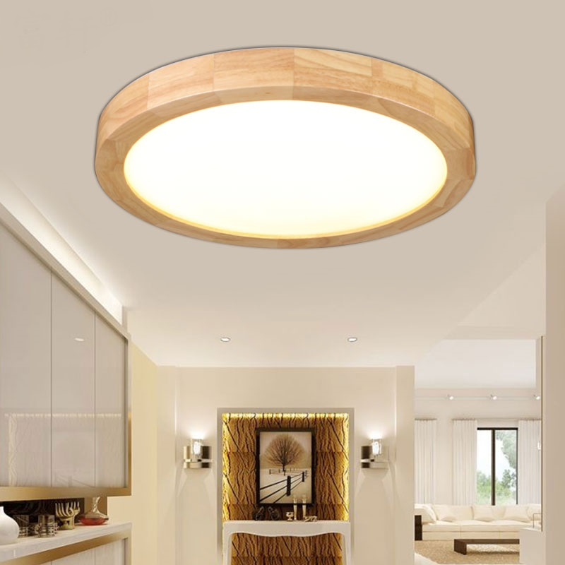 Japanese Round Solid Wood Ceiling Lamp Simple Originality