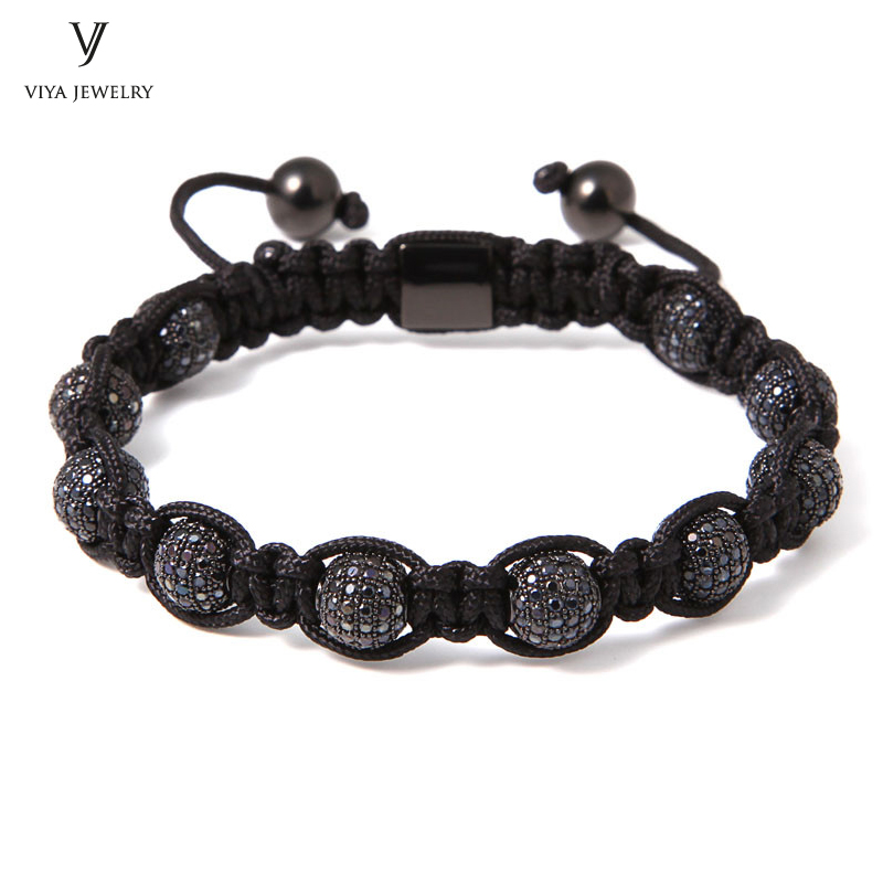 Customized Luxury Brand Men Black Drill Ball Macrame Bracelet Jewelry For Watch 8mm Micro Pave Black CZ Beads Braiding Bracelet new anil arjandas macrame bracelets 18pcs rose gold micro pave black cz stoppers beads braiding macrame bracelet for men jewelry