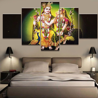 Unframed Wall Art Painting HD Printed 5 Panel God Of India Shiva Canvas Landscape Poster Home Decor Living Room Modular Pictures