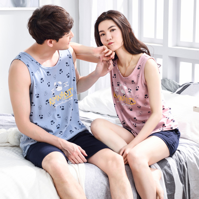 Hot Sale Couple Pajamas Set Summer Men and Women Sleeveless Cute Cartoon  Pyjamas Vest Lovers Sleepwear Nightwear Home Clothing c14515697