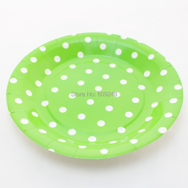 24pcs 9  Kids Birthday Wedding Holiday White Polka Dot Green Paper Plates Bulk Round Party & 24pcs 9