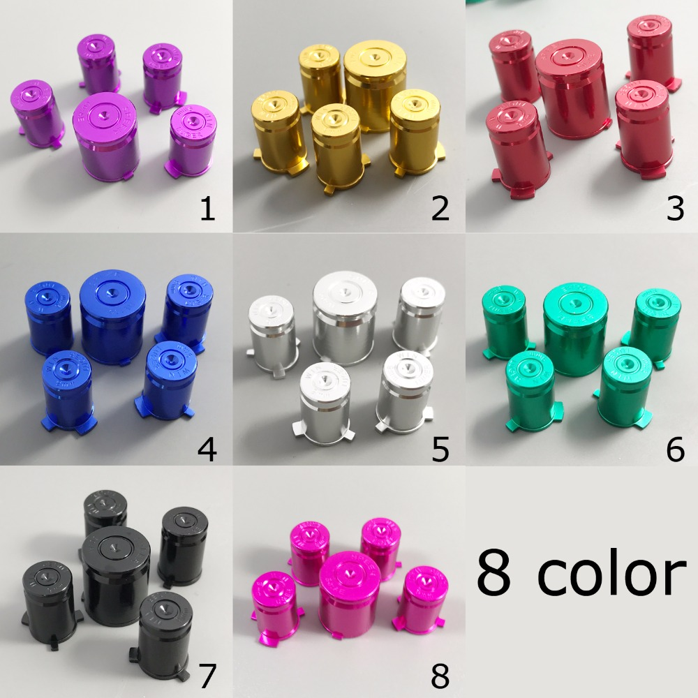 1x 8 Color Metal ABXY With Guide Buttons 9mm Bullet Sytle For XBox 360 Controller