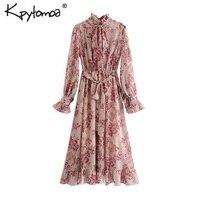Женское плиссированное платье, винтажное платье с цветочным принтом и поясом, Модные Повседневные платья с длинным рукавом и бантом, 2020