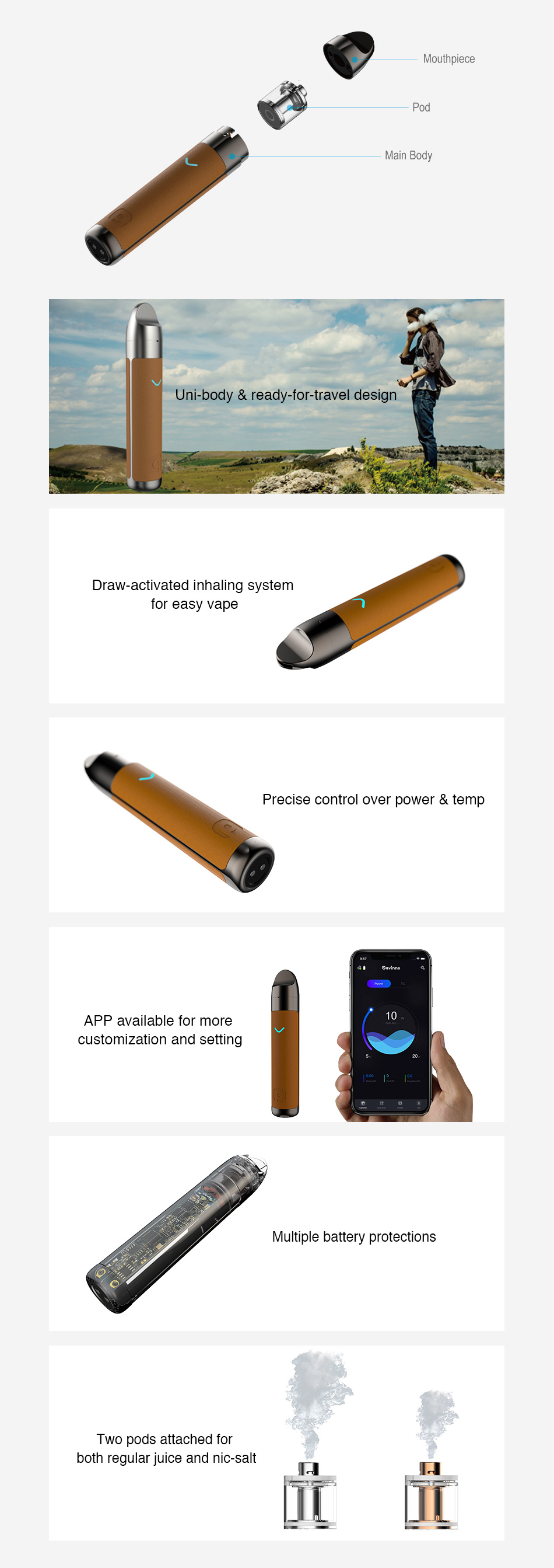 , Original Pavinno Puro Pod Starter Kit 1450mAh Built In Battery Can Be Operated Via APP Ecig Vape Kit