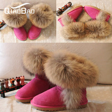 QIAOBAO 2017 Real Raccoon Fur 100% Genuine Leather Snow Boots Muleshoe Knee-High Winter Women's Boots