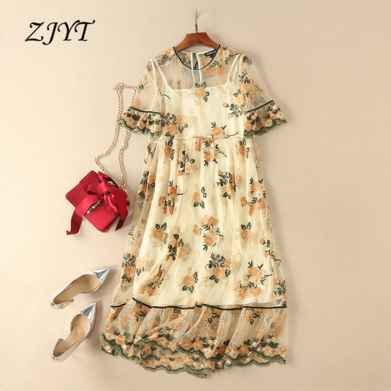 ZJYT Fashion Flower Embroidered Mesh Dress Plus Size Women High Quality Runway Dress 2018 Summer Mid Calf Sexy Party Dress