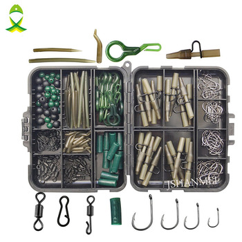 JSM 160pcs/lot Carp Fishing Tackle Kit Box Lead Clips/Beads/Hooks/Tubes/Swivels Baiting Terminal Rigs Carp fishing Tackle Box