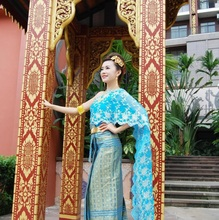 Asian Thai Laos Vietnam Dai Nation Folk dance Traditional dress blue Queen single shoulder Ancient Thailand style Outfit