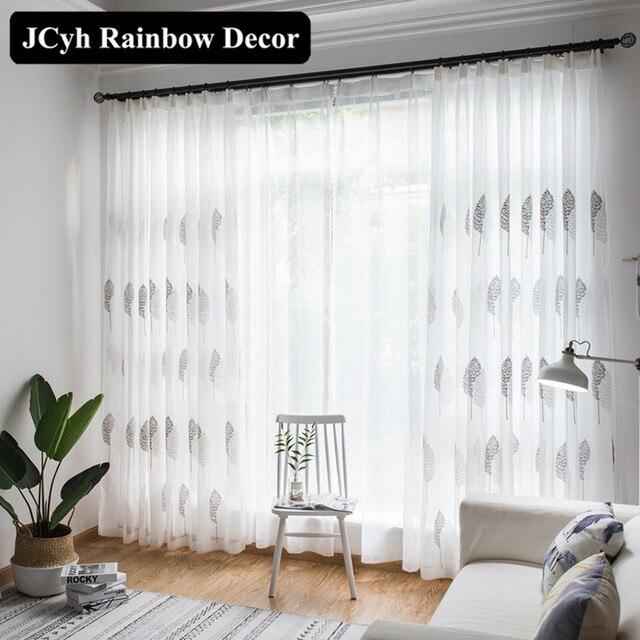 Moderno Bianco Ricamato tende di Tulle per soggiorno camera Da Letto tende Trasp