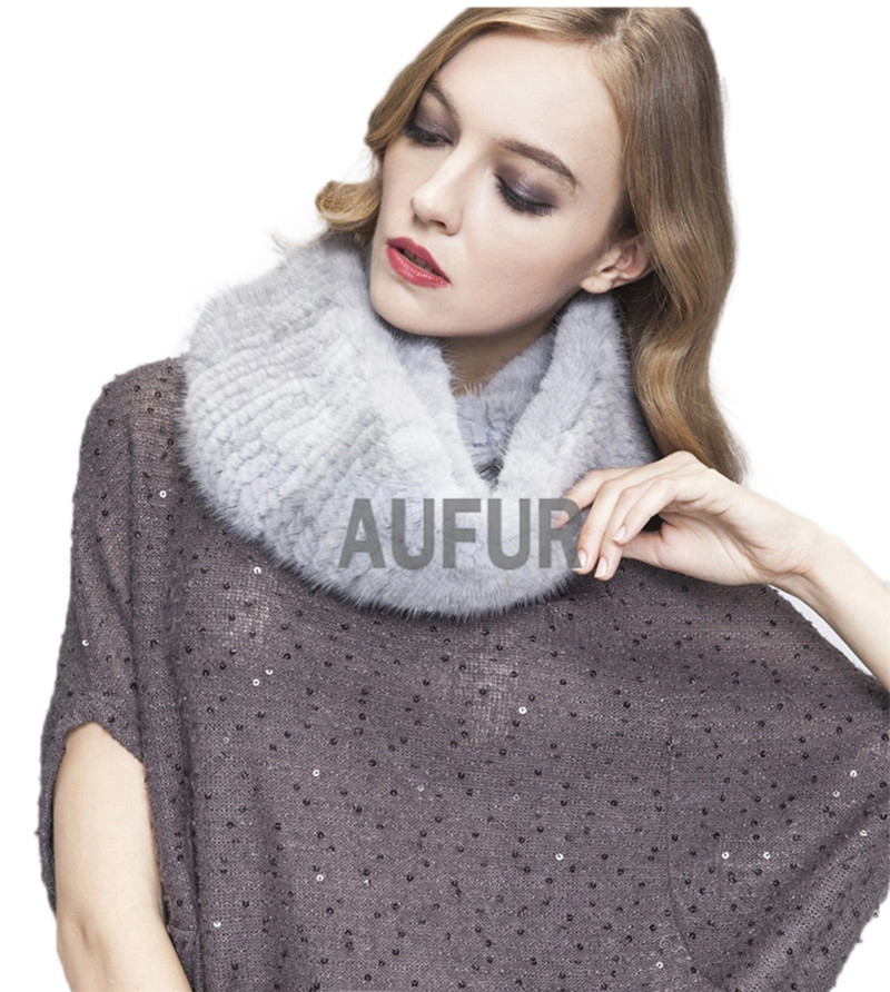 Fashionable Women Real Knitted Mink Fur Neckerchief Ladies Scarves Natural Fur Scarf Knitted Real Fur Neckwarmer