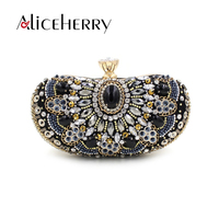 Aliceherry luxury handbags women bags designer diamond beaded wedding bridal bag Womens crystal clutch messenger evening bag