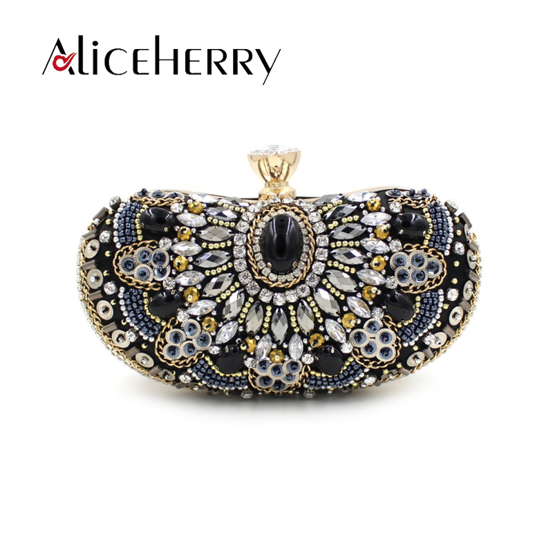 Aliceherry luxury handbags women bags designer diamond beaded wedding bridal bag Womens crystal clutch messenger evening bag luxury crystal clutch handbag women evening bag wedding party purses banquet