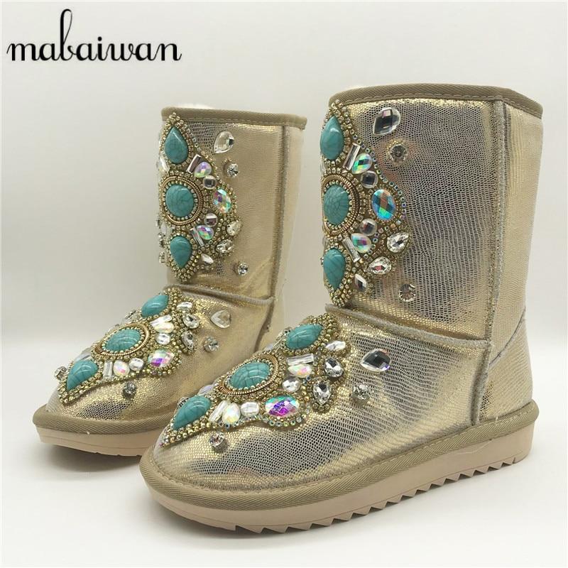 Mabaiwan Luxury Gem Women Snow Boots Fur Inside Short Booties Winter Warm Flat Botas Green Rhinestone Furry Boots Shoes Woman