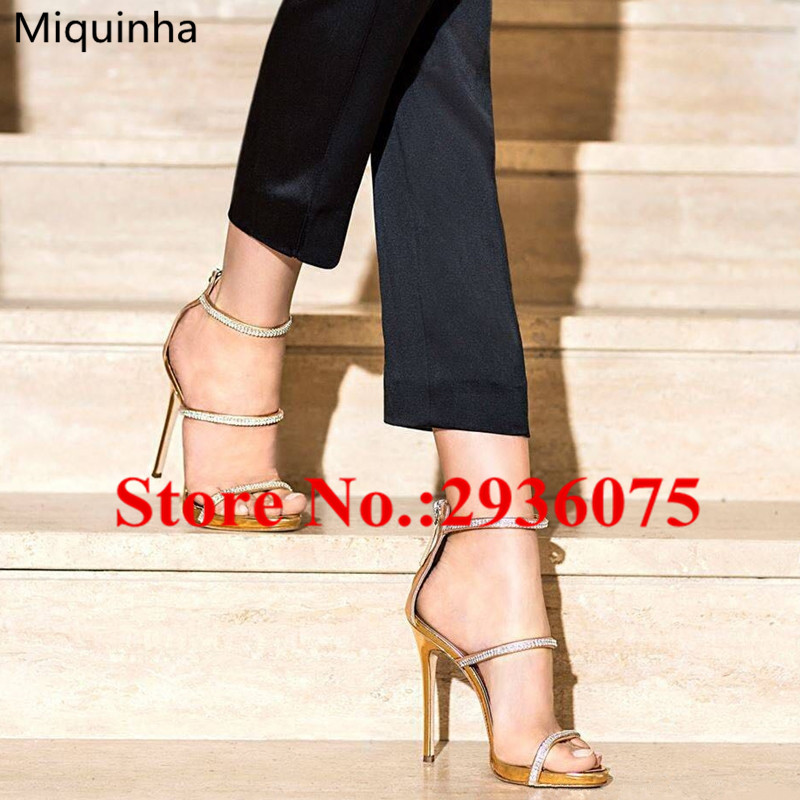 ФОТО Gold Silver Metallic Leather Crystal Embellished Women Sandals Open Toe Strappy Back Zip Platform High Heels Sandals Shoes Woman