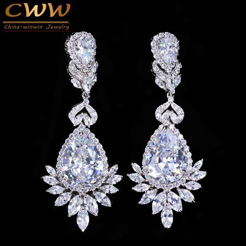 CWWZircons Elegance Elegance Partner Diamond Party Party، Jewelry Luxury Long CZ Crystal Big Drop گوشواره های آویز برای عروس CZ055