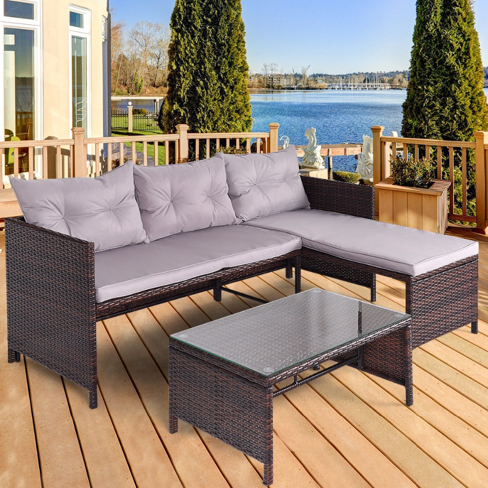 Giantex 3 PCS Outdoor Rattan Furniture Sofa Set Lounge Chaise Sofa ans Coffee Table Cushioned Patio Garden Furniture HW58535 3